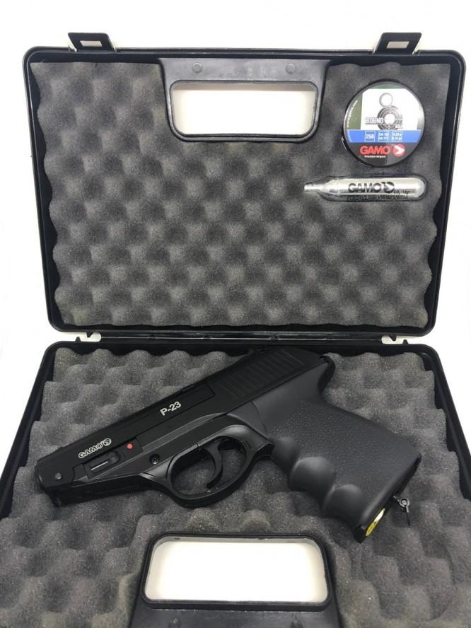 pistola de pressao gamo combat p 23 co2 45mm 1 666x888 - Pistola de Pressão Gamo Combat P-23 CO2 4,5mm - Com Maleta Rígida