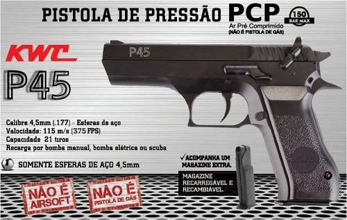 pistola pressao pcp kwc p45 45mm 2 - Pistola Pressão PCP KWC P45 4,5mm