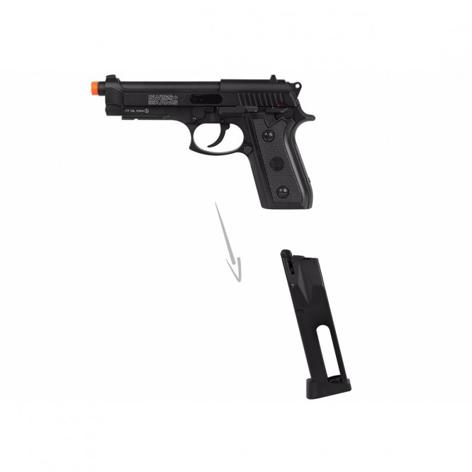 pistola pressao swiss ar p92 4.5 3 666x666 - Pistola de Pressão CO2 Swiss Arms P92 4.5mm Full Metal BlowBack