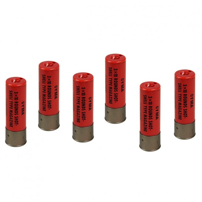 magazine cyma shotgun 6un 1 666x666 - Magazine Airsoft Cyma para Shotgun - Kit 06 Cartuchos